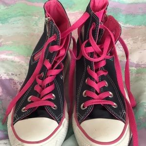 Pink converse high cut shoes